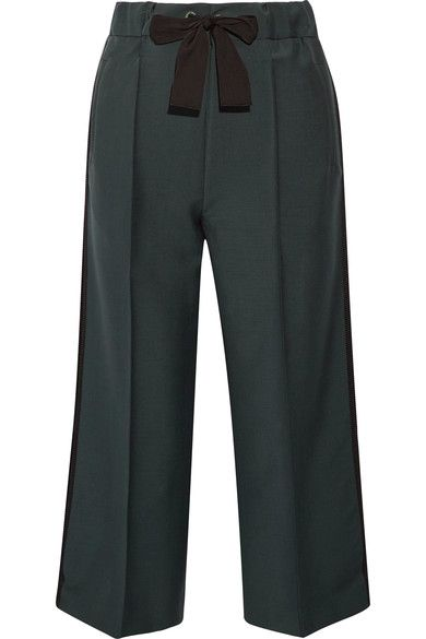 Fendi - Cropped Mohair And Wool-blend Wide-leg Pants - Army green