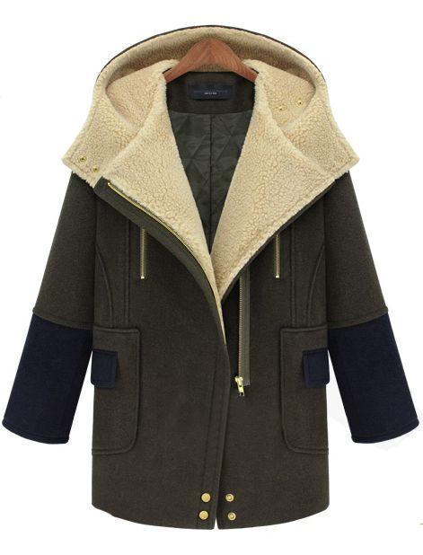 Abrigo de lana cremallera bolsillos manga larga-Marino EUR€47.33
