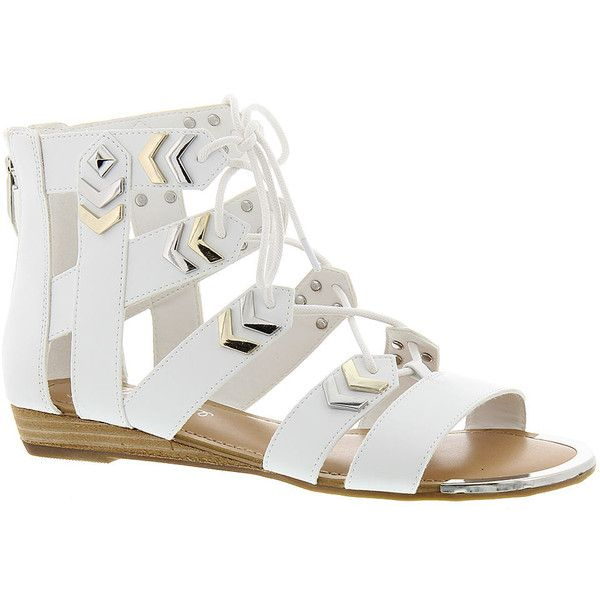 Fergie Trisha (£54) ❤ liked on Polyvore featuring shoes, sandals, white, white wedge heel sandals, white lace up sandals, fergie sandals, laced sandals and white shoes