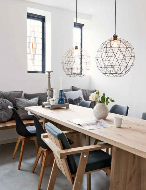 Dining room #table #lamps #cushion #wood #white #greys