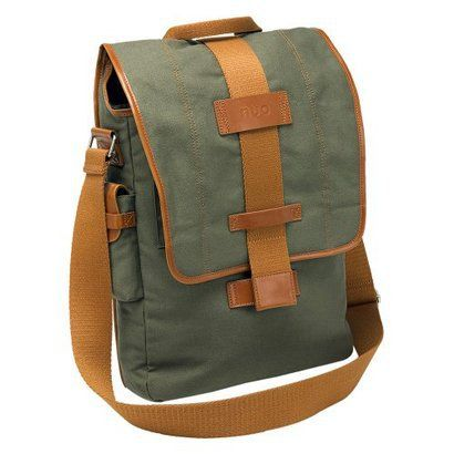 I need a new laptop bag. This might be perfect. Green and tan, perfect color combination.