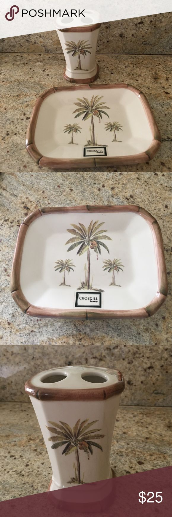 Croscill Soap dish and Toothbrush holder Croscill set adorned with palm trees and bamboo trim. croscill Other