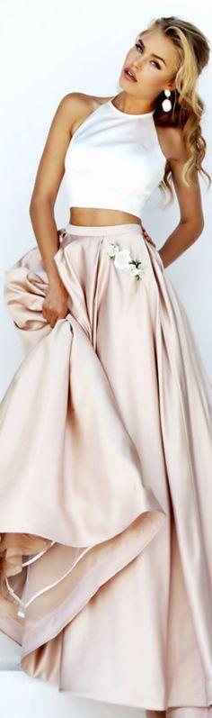 Rosamaria G Frangini | HauteCouture | Sherri Hill Soft Pink Silk Skirt and White Silk Blouse | MM&Co.