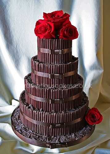 Wedding Cake - Chocolate Cigarellos with Fresh Roses