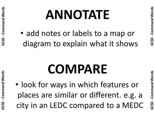 Geography GCSE Exam Command Words