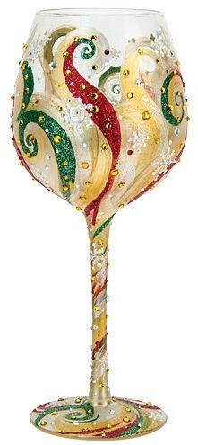 """Christmas Beauty"" Super Bling Wine Glass by Lolita (Hula Island)"