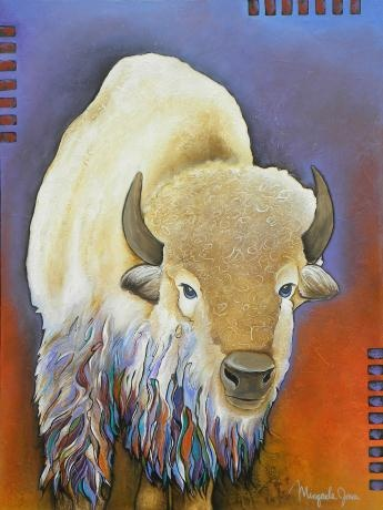 "Native American artist Micqaela Jones original art -- is she fabulous or what?  This one is called ""White Buffalo""."