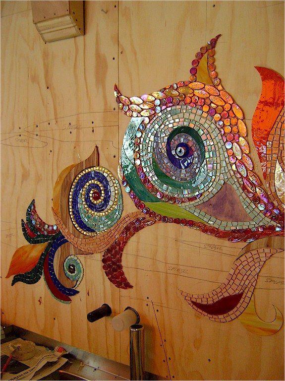 Gallery of mosaics in progress. Mozaïek in Abraxas Too coffeeshop: