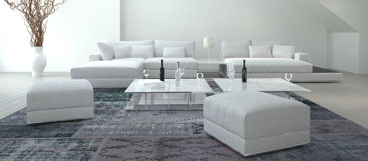 Salotto in stile moderno con tappeto Patchwork