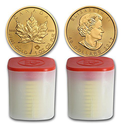#Coins CA 2017 Canada 1 oz Gold Maple Leaf Coin BU (Lot of 20, 2 Tubes/Rolls) Brilliant Uncirculated