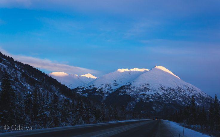 Alaskan landscape, beautiful road from Anchorage to Kenai