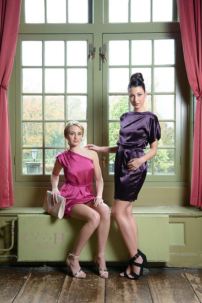 Roze satijnen asymmetrische en paarse zijden jurk Satin pink asymmetrical and  silk purple dress