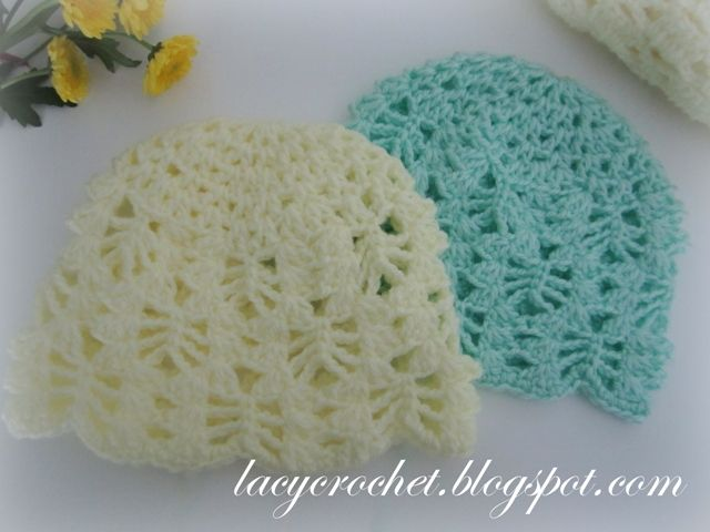 Lacy Stitch Baby Hat Size 3-6 Months, free pattern. ***Free pattern for newborn size is also available at lacycrochet.blogspot.com, as well as a free pattern for a matching blanket***