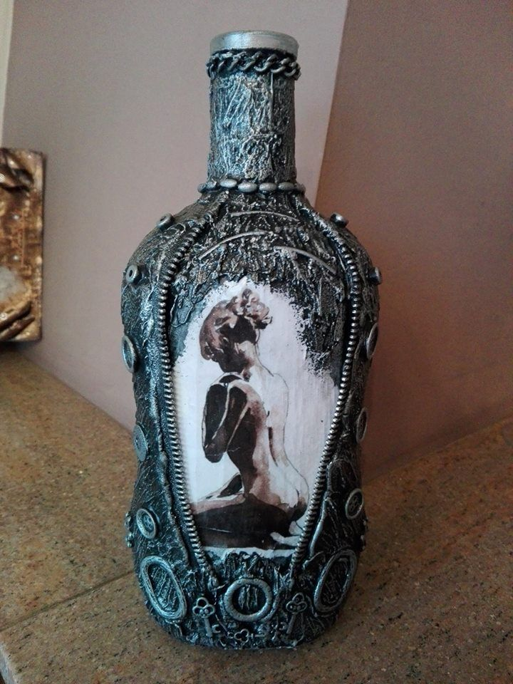 bottle with mixed techniques and decoupage
