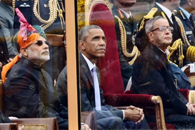 66th Republic Day parade of India attended by Barack Obama. First US president to attend India's Republic Day.   thefivethingsblog/Obama/Narendra Modi/RebellionRider