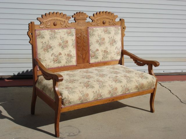 Eastlake sofa vintage eastlake style settee upholstered in for Settees and sofas