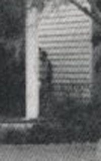Close-up of the ghost photo taken at The Myrtles Plantation. You can see through this figure, believed to be the slave Chloe.