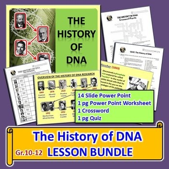 This lesson bundle contains FOUR RESOURCES for Gr.10-12 on these leading scientists and their research:  The following leading scientists and their research. 1. Friedrich Miescher 2. Albrecht Kossel 3. Phoebus Levene 4. Fredrick Griffith 5. Oswald Avery 6. Erwin Chargaff 7. Martha Chase and Alfred Hershey 8. Rosalind Franklin 9. Maurice Wilkins 10.James Watson and Francis Crick