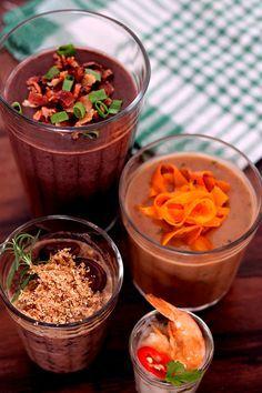 Caldinho de feijão - 4 receitas (Brazilian beans cup soup - 4 ways)