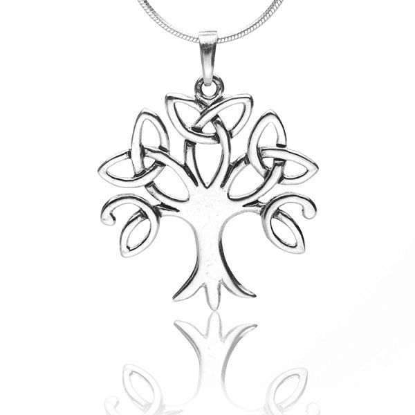 925 Sterling Silver Celtic Knot Trinity Tree of Life Pendant Necklace, 18 inches - Nickel Free