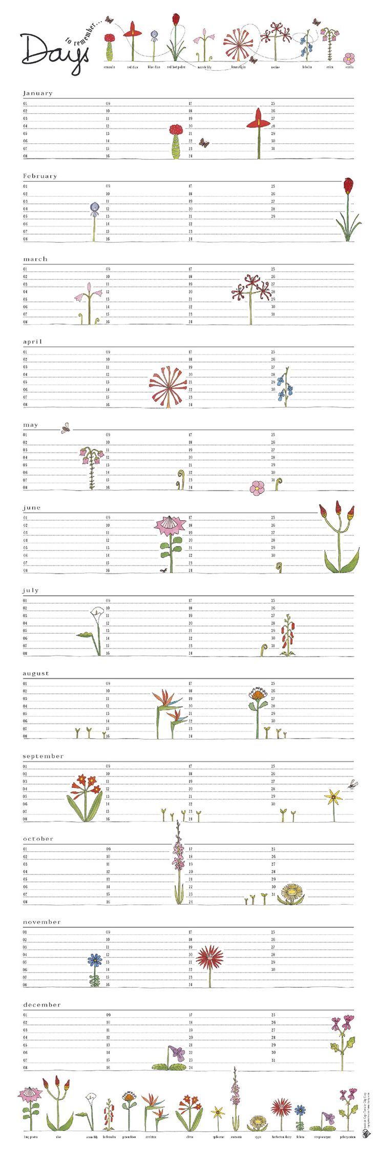 Birthday calendar by Clip Clop with indigenous flowers placed in their blooming month!