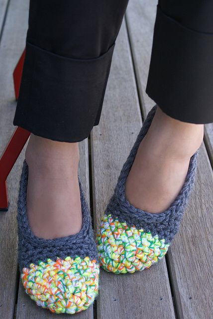 Crochet Slipper - funky color choice but I like the shape!