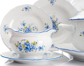 Jídelní sada - Ofélie * bílý porcelán s modrý malovaným okrajem a pomněnkami.