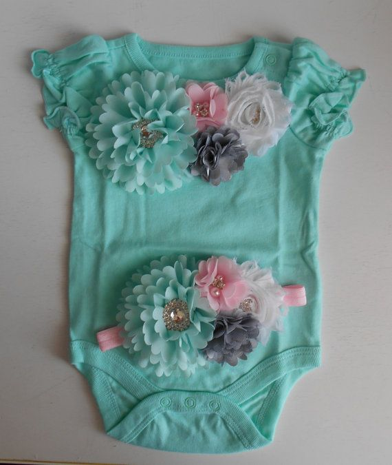 Flower Embellished one piece bodysuit baby girl by LittleQTCouture