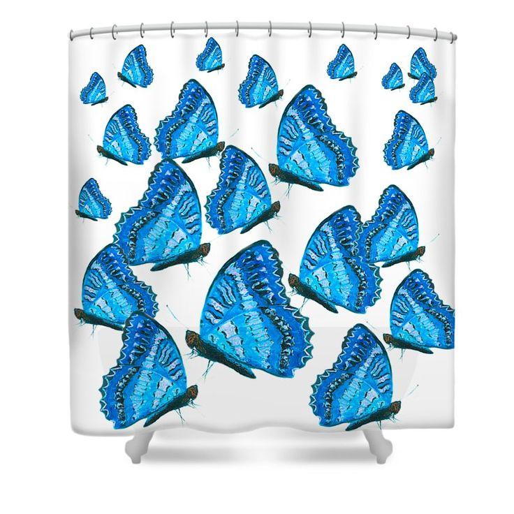 Blue butterflies shower curtain