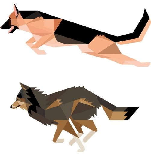 I like these caricatures.  Looks to me like a German Shepherd Dog and a Wolf, both running.