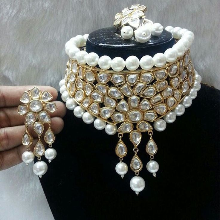 Bridal pearl choker with matching kundan earrings by officialsignature
