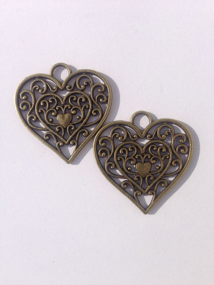 Heart Filigree Pendant, Antique Brass finish, for jewellery making by FionasHobbyHut on Etsy