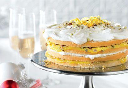 Gâteau au citron, aux pistaches et au chocolat blanc
