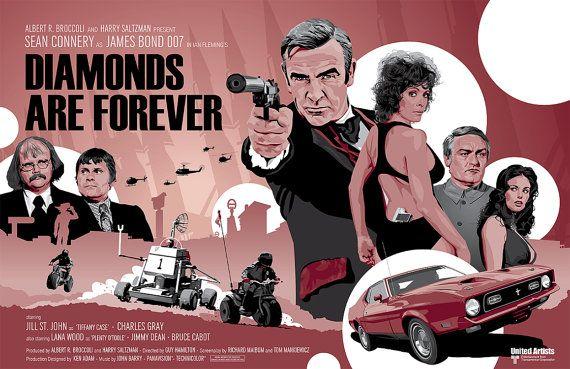 """James Bond 007 - les diamants sont éternels - impression numérique 17 x 11"""""""