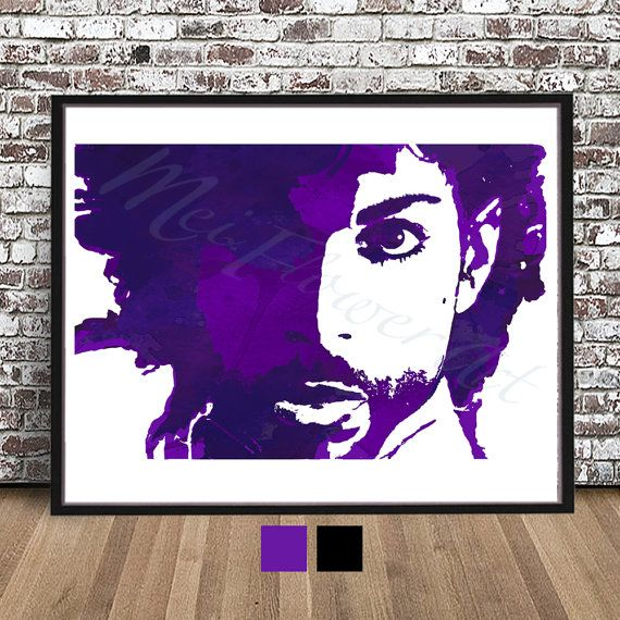 Prince Rogers Nelson, water color painting PRINT, Purple Rain painting, illustration, The Artist Formerly Known As, RIP, art decor, drawing