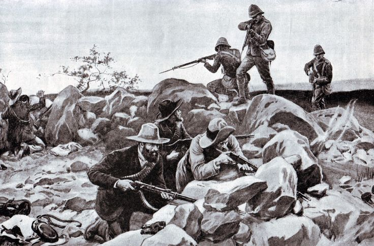 Grenadier Guards storming the Boer positions at the Battle of Belmont on 25th November 1899