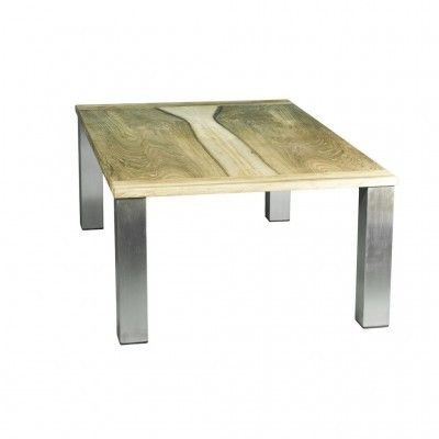 Table basse noyer inox
