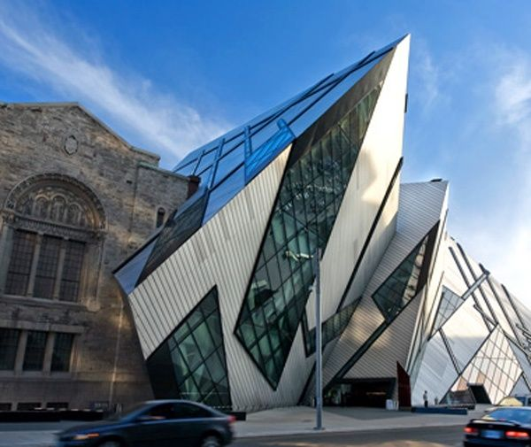 Architect Daniel Libeskind's angled steel Royal Ontario Museum in Toronto, the aluminum and glass structure looks as if it crashed into the side of the Neo-Romanesque museum—which is either brilliant or appalling, depending on whom you ask.