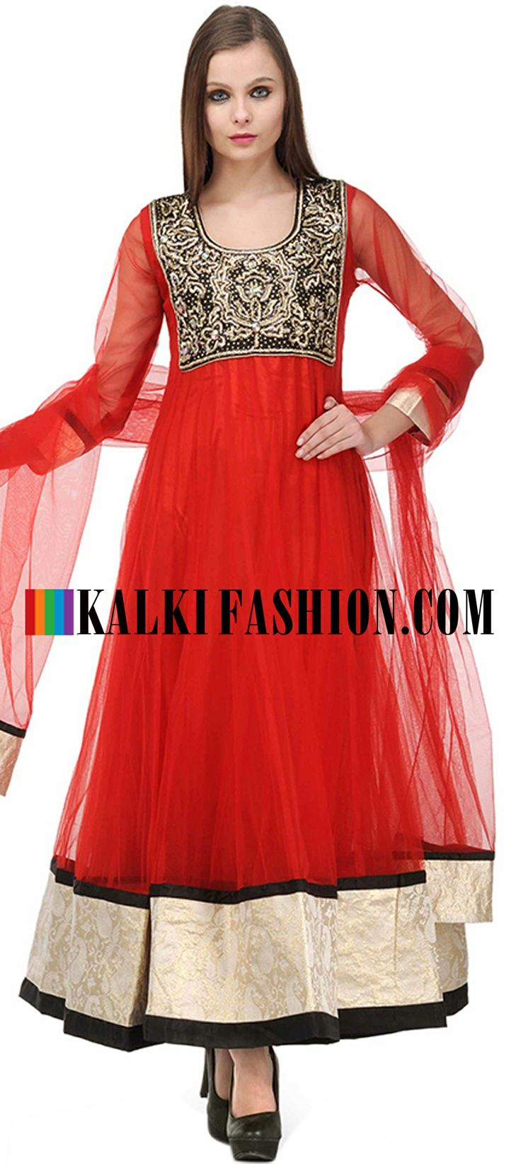 Buy Online from the link below. We ship worldwide (Free Shipping over US$100)  http://www.kalkifashion.com/red-embellished-anarkali-suit-set.html