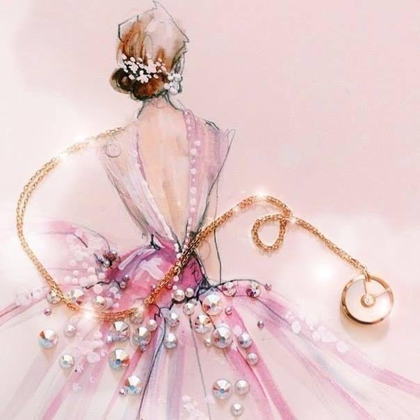 Отличная идея, которую можно применить при создании поздравительных открыток! Fashion-иллюстрации от Кэти Роджерс. Дизайнер работает с именитыми домами мод и модными журналами. В своих картинках она часто использует сверкающие стразы, пайетки и глиттер, придающие особое очарование её работам. #Abbigli #хендмейд #ручнаяработа #рукоделие #хобби #креатив #handmade