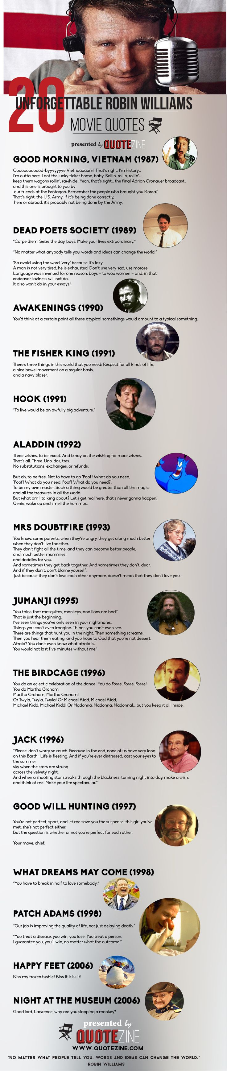 And now I'm crying 20 Unforgettable Robin Williams Movie Quotes #infographic #quotes #motivational