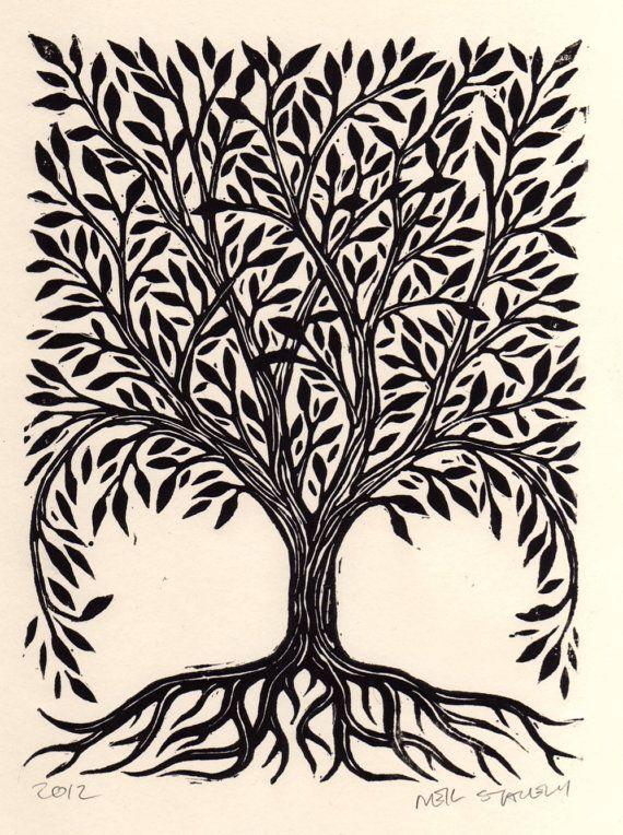 tree linocut