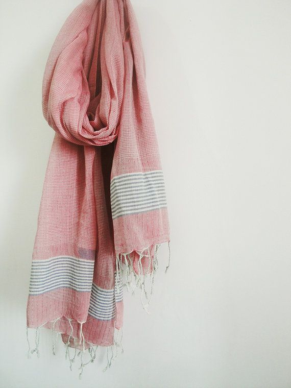 Red Check Pure Cotton Scarf  Stole  Wrap by EksayAnek on Etsy, $25.00