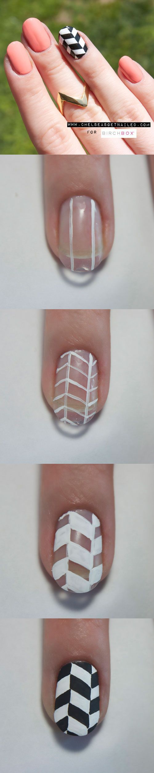 How To: Chevron Nail Art. I love chevron patterns, but I'd never be able to pull this off on my right hand. Thank God mismatched nails are trending! Maybe a chevron accent on the left, and some simple stripes or dots on the left...
