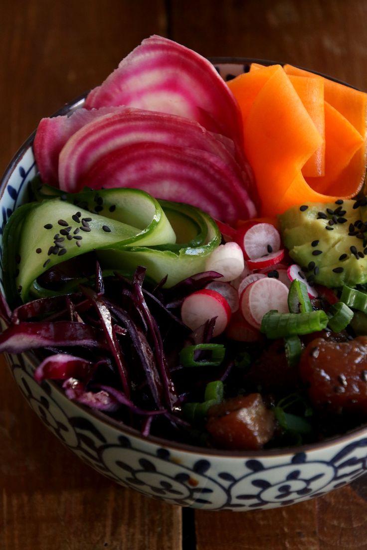Colorful poke bowl