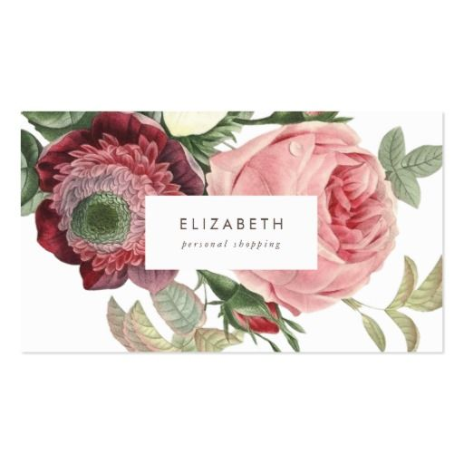 Big Roses Pink Red Flowers Business Card  #zazzle, #phrosnerasdesign #floral #businesscards #callingcards #contactcards