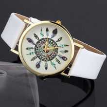 Splendid color white Womens Vintage Feather Dial Leather Band Quartz Analog…
