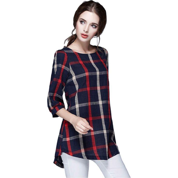 Tシャツファム秋綿リネン3分袖カジュアルヴィンテージルーズ格子縞の女性トップス& tシャツプラスサイズ特大シャツ