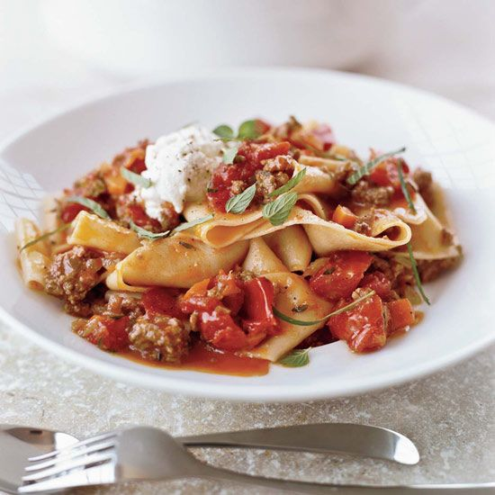 Pappardelle with Lamb Ragù // More Lamb Recipes: http://www.foodandwine.com/slideshows/lamb #foodandwine #vday #valentines