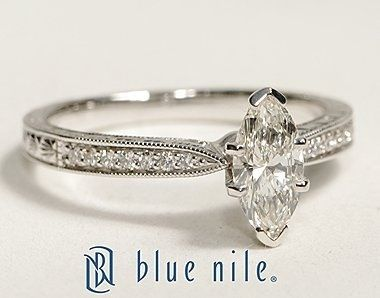 Engraved micropave marquise engagement ring, build your own ring at Blue Nile. This has to be the most perfect engagement ring I've ever seen.